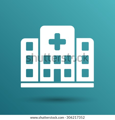 Hospital icon cross building isolated human medical view.