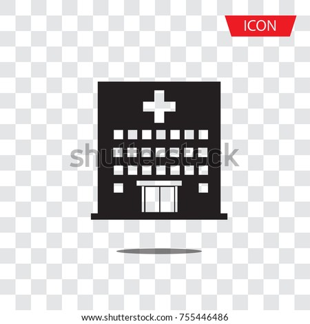 Hospital icon cross building isolated on transparent background.