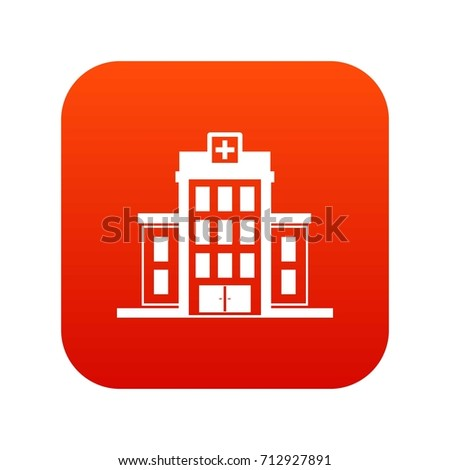 Hospital icon digital red for any design isolated on white vector illustration