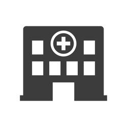 Hospital icon on white background. Vector illustration