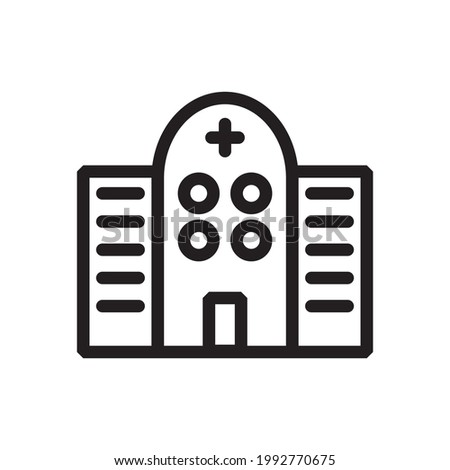 Hospital icon or logo vector illustration of isolated sign symbol, vector illustration with high quality black outline.