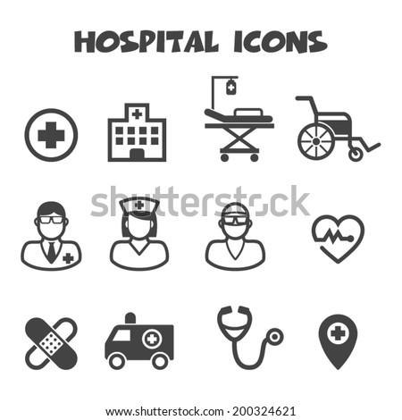 hospital icons mono vector symbols