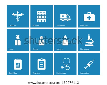 Hospital icons on blue background Vector illustration