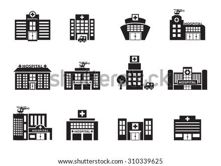 hospital icons set on white background, vector