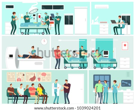 Hospital interiors with patients, doctors, nurse and medical equipment. Medicine service vector concept. Medical equipment clinic, hospital with patient and docto illustration