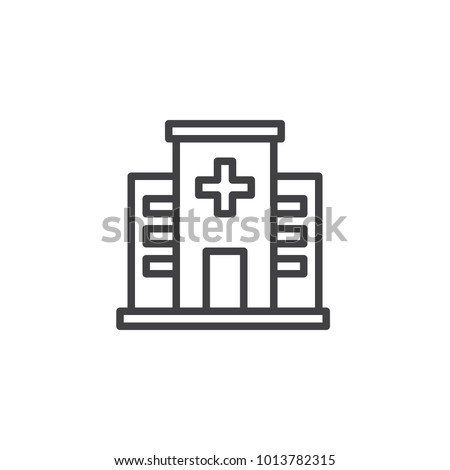 Hospital line icon, outline vector sign, linear style pictogram isolated on white. Medical building symbol, logo illustration. Editable stroke