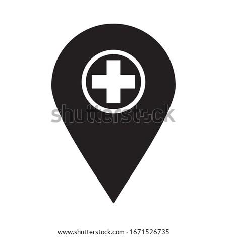 HOSPITAL LOCATION ICON , HOSPITAL PIN ICON