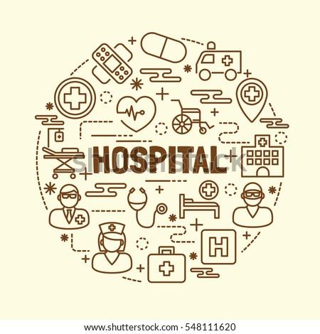 hospital minimal thin line icons set, vector illustration design elements