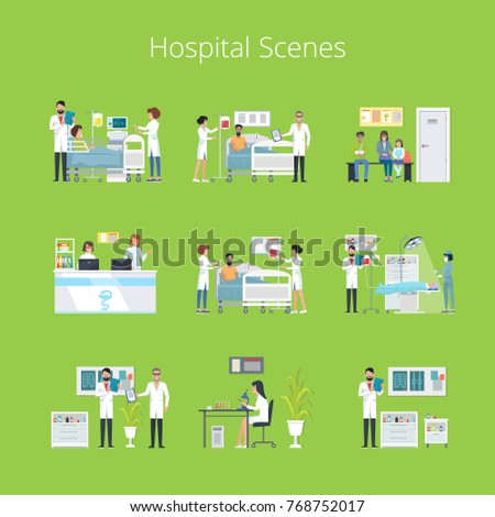 Hospital scenes and services icons with doctors, nurses and hospital equipment isolated on green background. Vector illustration of clinic daily