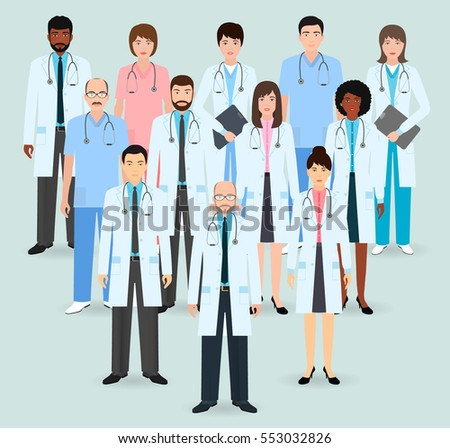 Hospital staff. Group of twelve men and women doctors and nurses standing by pyramid. Medical people. Flat style vector illustration.