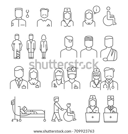 Hospital staff thin line icons set. Specialist and patient, vector illustration