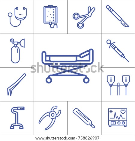 Hospital tools or accessories isolated flat linear vector icon set