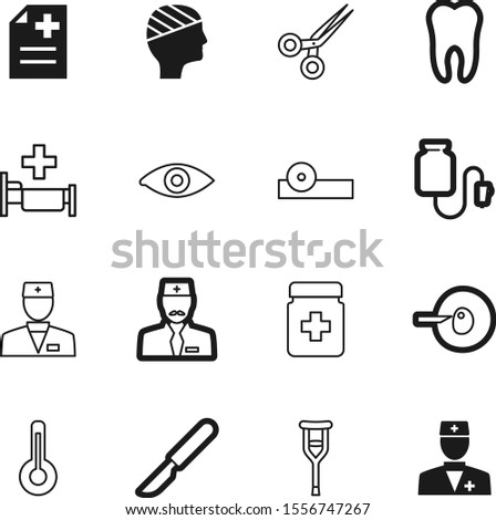 hospital vector icon set such as: fever, vitamin, knife, bottle, sperm, abstract, eyesight, sterilized, prescription, business, scissors, life, drop, adult, optometrist, barber, blade, pharmaceutical