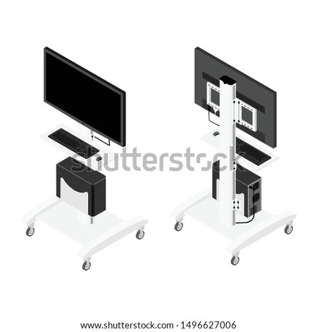 Hospital Vital signs monitor and computer for patient isometric view isolated on white background