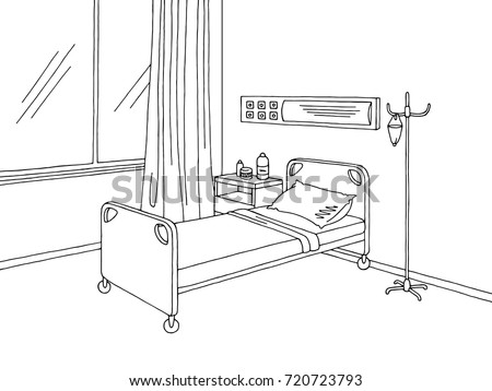 Hospital ward graphic black white interior sketch illustration vector