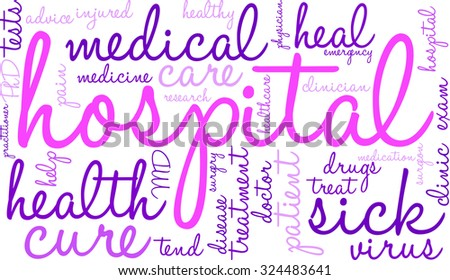 Hospital word cloud on a white background.
