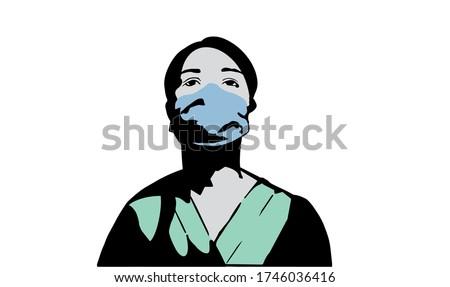 Hospital worker during covid 19 vector illustration
