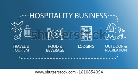 Hospitality Business Icon. Travel tourism food beverage recreation. EPS10 vector illustration. Сток-фото ©