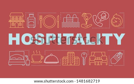 Hospitality word concepts banner. Lodging industry. Restaurant and hotel service. Presentation, website. Isolated lettering typography idea with linear icons. Vector outline illustration Сток-фото ©