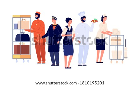 Hospitality workers. Hotel staff characters, receptionist porter maid doorman chef. Hostel team, travel and tourism vector illustration Stock foto ©