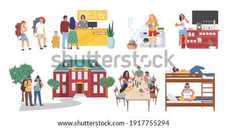 Hostel cartoon character set, flat vector isolated illustration. Hostel building, reception, kitchen, bedroom, laundry room. Tourists, students searching for cheap hotel accommodation, living in dorm. Сток-фото ©