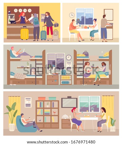Hostel Interior for tourist. People settle in hostelry, living, sleeping, eating on hand drawn vector illustration. Hosteller study in academic year. Locate in bedroom, reception, cupboard, dining. Сток-фото ©