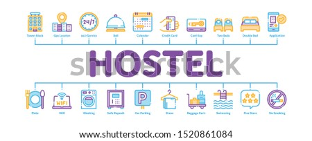 Hostel Minimal Infographic Web Banner Vector. Building Hostel And Location, Calendar And Parking Symbol, Bed And Laundry Machine Linear Pictograms. Wifi Internet Contour Illustrations