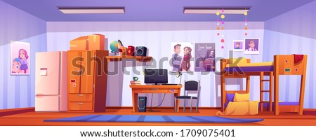 Hostel room, student bedroom in dormitory with bunk bed, computer on desk, wardrobe and fridge. Vector cartoon interior of college dorm, guest accommodation, budget apartment for tourist