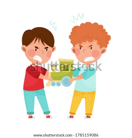 Hostile Kids with Angry Grimace Fighting Over Toy Train Vector Illustration Photo stock ©