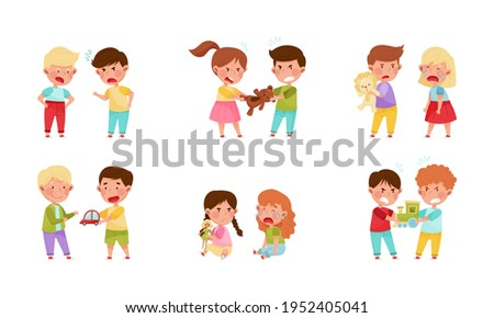 Hostile Kids with Angry Grimace Fighting Over Toys and Quarreling Vector Illustration Set Photo stock ©