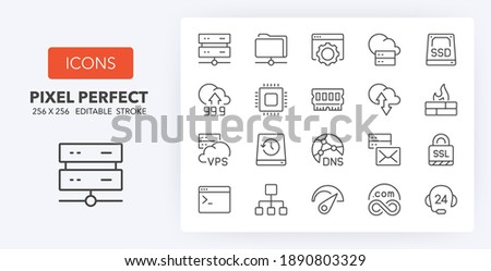 Hosting and cloud computing networks concepts thin line icon set. Outline symbol collection. Editable vector stroke. 256x256 Pixel Perfect scalable to 128px, 64px... Foto d'archivio ©