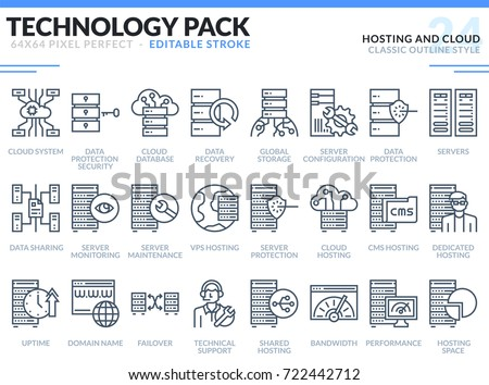 Hosting and Cloud Icons Set. Editable Stroke. Technology outline icons pack. Pixel perfect thin line vector icons for web design and website application.