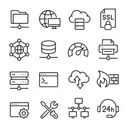 Hosting and local network icon set, communication for connection. Internal network, system hosting the webserver. Vector line art illustration