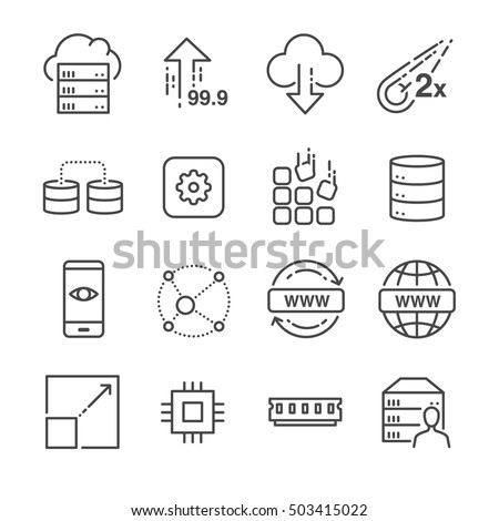 Hosting and server related line icons set 1
