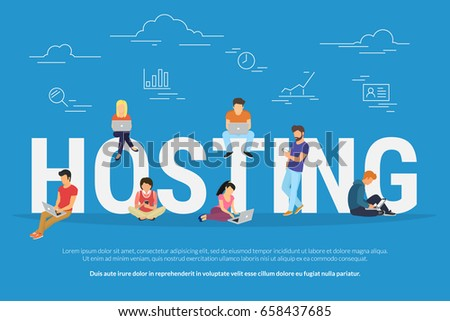 Hosting concept vector illustration of young people using laptops for internet and working in web. Flat design for webhost servers and data storage with young users and developers