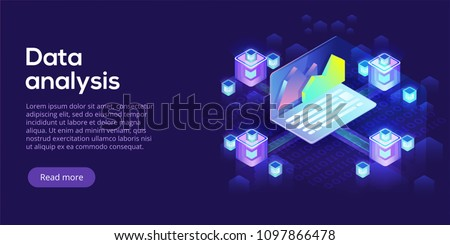 Hosting server isometric vector illustration. Abstract 3d datacenter or data center room background. Network mainframe infrastructure website header layout. Computer storage or farming workstation.