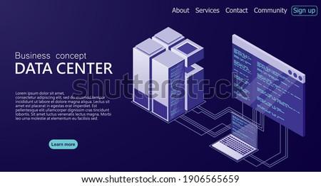 Hosting server or data center room concept. Isometric Data center. Isometric servers vector design. Concept of big data processing center. Data center. vector illustration