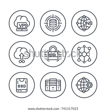 hosting service and network solutions line icons set on white Foto stock ©