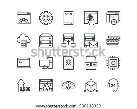 Hosting. Set of outline vector icons. Includes such as SSD Disk, Control Panel, Traffic, Firewall and other. Editable Stroke. 48x48 Pixel Perfect.