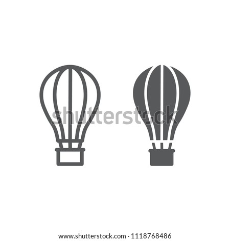Hot Air Ballon line and glyph icon, travel and tourism, airship sign vector graphics, a linear pattern on a white background, eps 10.
