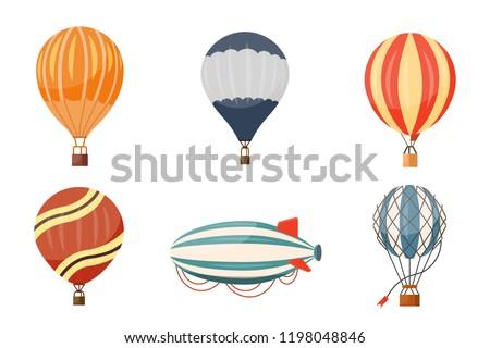 Hot air balloon and airship vector icons set. Summer ballooning adventure cartoon hotair travel.