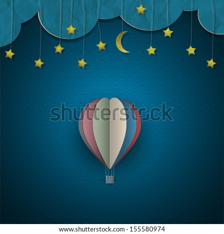 hot air balloon and moon with