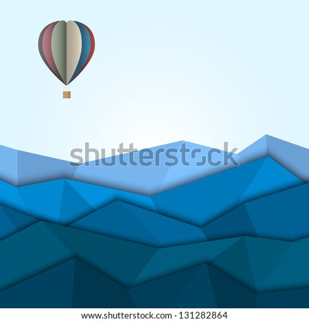 hot air balloon and mountains