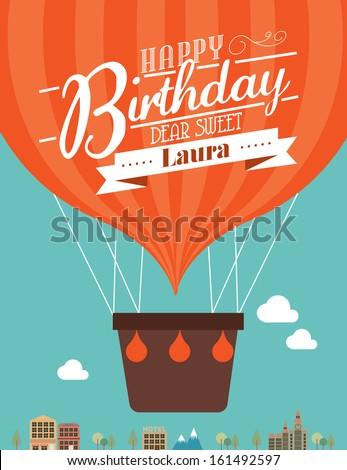 hot air balloon birthday greetings vector/illustration