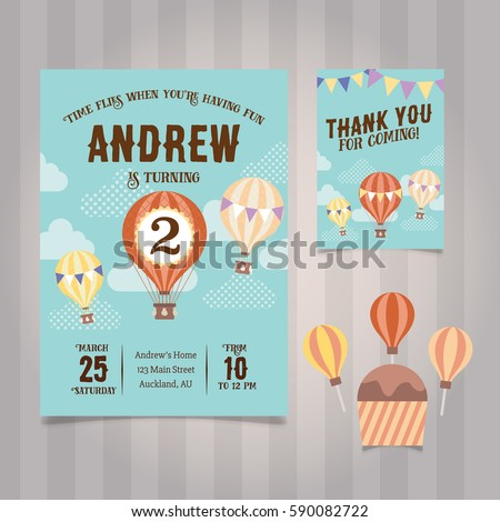 Hot Air Balloon Birthday Invitation Template