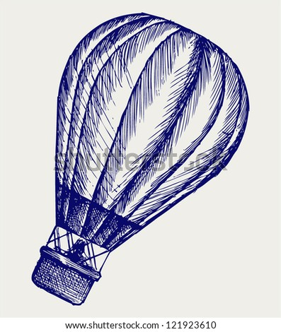 Hot air balloon. Doodle style