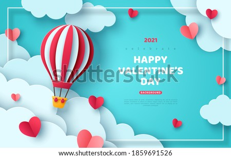Hot air balloon floating in blue sky and paper cut clouds. Romantic adventure for honeymoon or wedding invitation design. Place for text. Happy Valentines day sale brochure template with cute hearts.