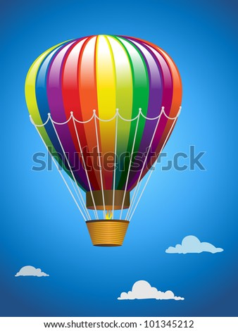 Hot air balloon flying