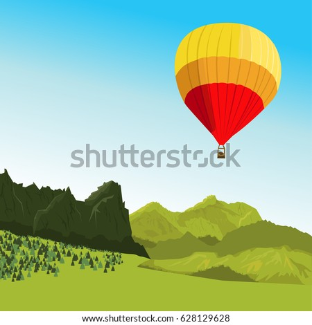 hot air balloon flying above