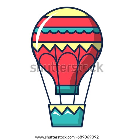 Hot air balloon icon. Cartoon illustration of hot air balloon vector icon for web design